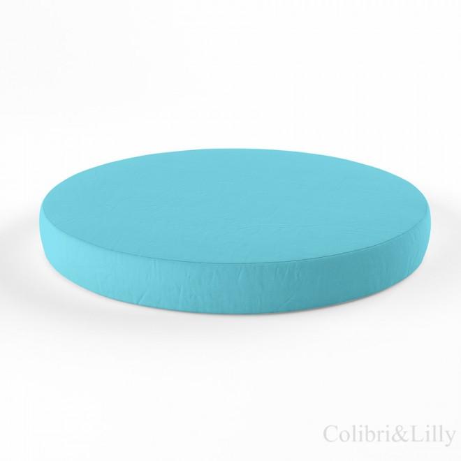 Простыня на резинке в круглую кроватку (Цвет: небесная бирюза)