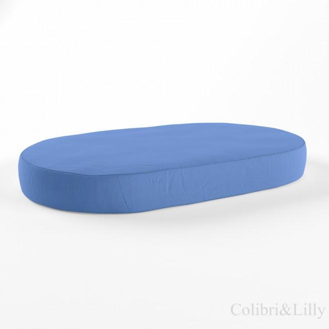 Простыня на резинке в овальную кроватку (Цвет: голубой)
