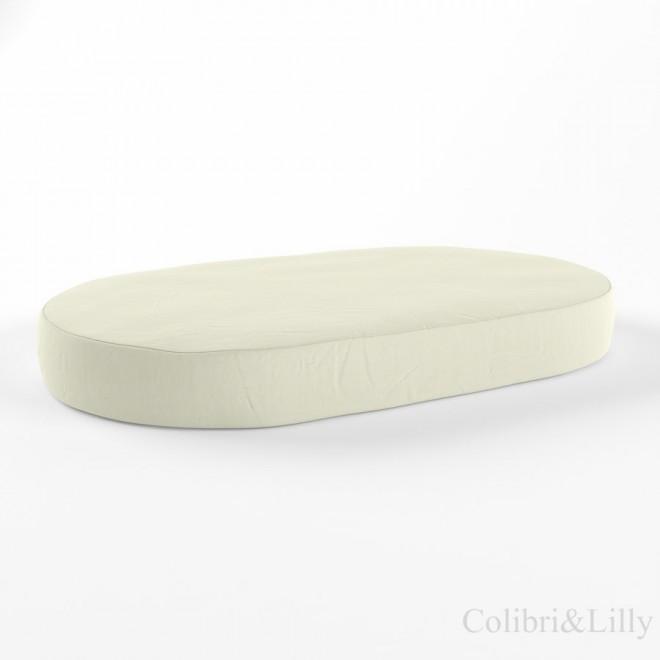 Простыня на резинке в овальную кроватку (Цвет: молочный)