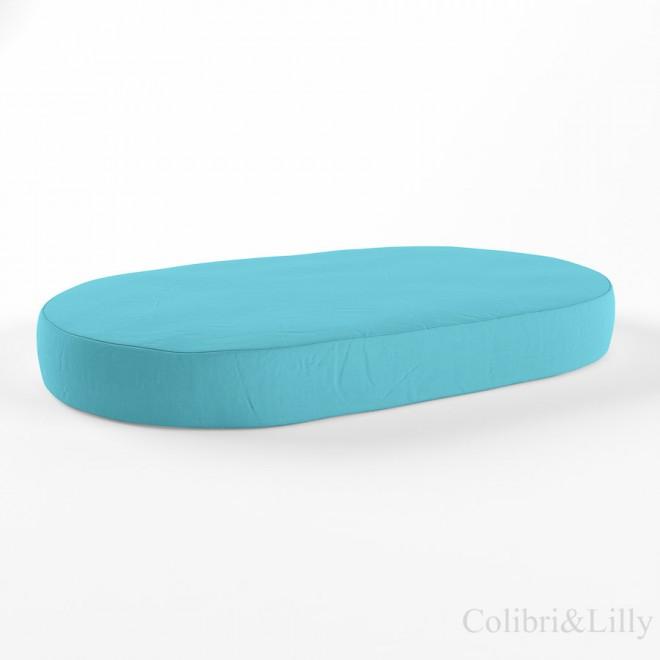 Простыня на резинке в овальную кроватку (Цвет: небесная бирюза)