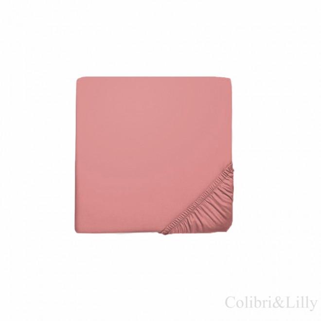 Простыня на резинке в кроватку (Цвет: фламинго)