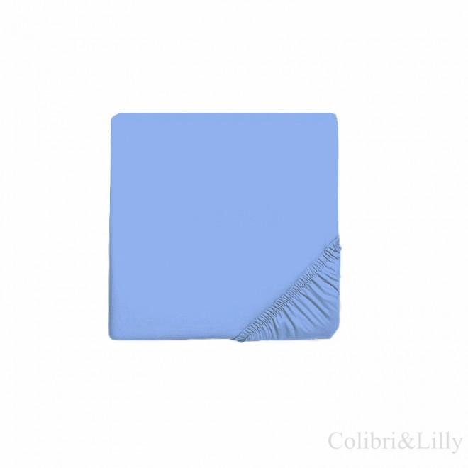 Простыня на резинке в кроватку (Цвет: голубой)