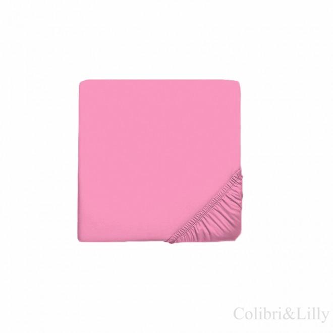 Простыня на резинке в кроватку (Цвет: малиновый)