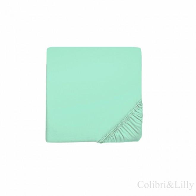 Простыня на резинке в кроватку (Цвет: мятный)