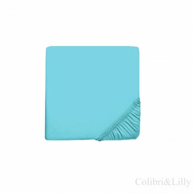 Простыня на резинке в кроватку (Цвет: небесная бирюза)