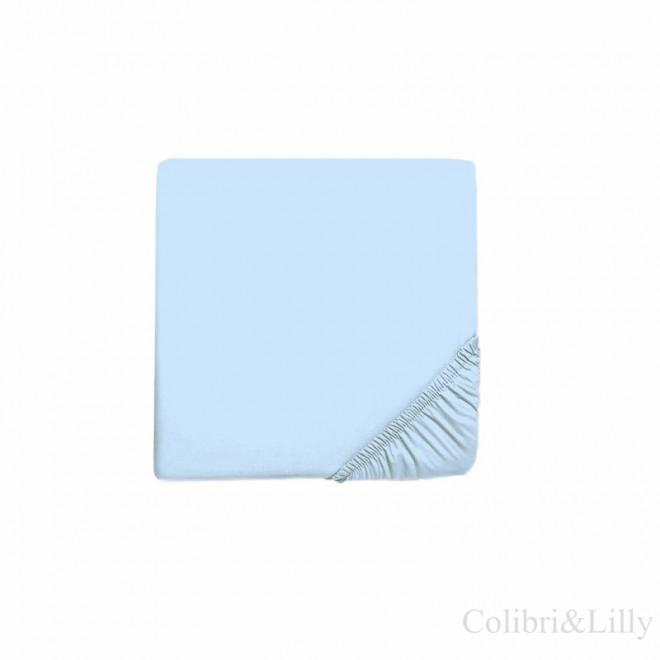 Простыня на резинке в кроватку (Цвет: нежно-голубой)