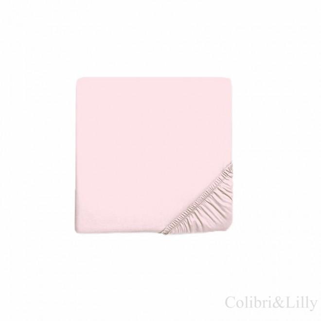 Простыня на резинке в кроватку (Цвет: нежно-розовый)