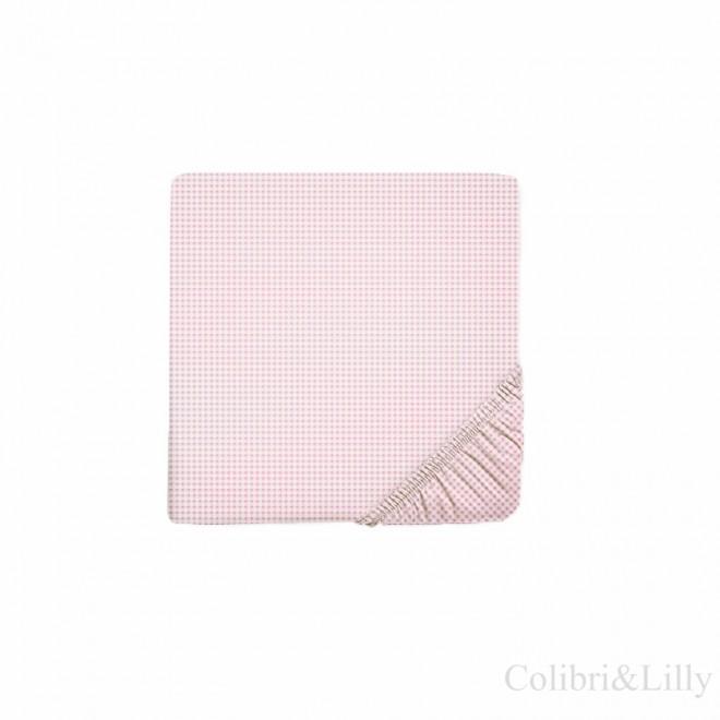Простыня на резинке в кроватку (Цвет: розовая клетка)