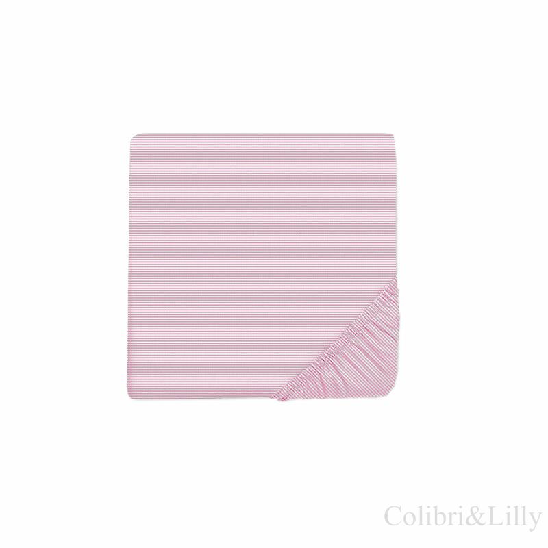 Простыня на резинке в кроватку (Цвет: розовая полоска)