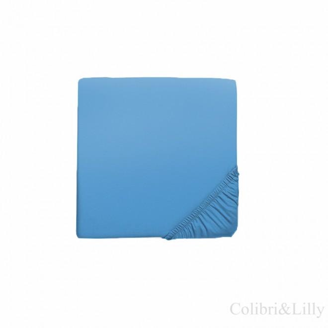 Простыня на резинке в кроватку (Цвет: темно-голубой)