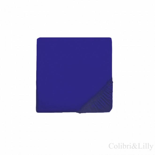 Простыня на резинке в кроватку (Цвет: темно-синий)